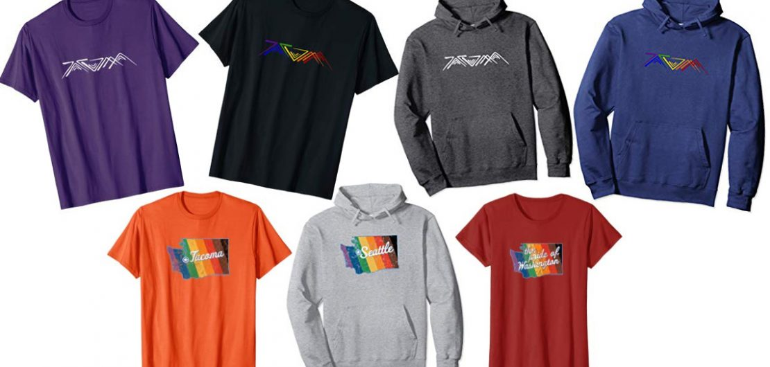 Collage of Angular Tacoma branded shirts and hoodies